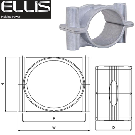 Two Hole Cable Clamps (Aluminium), Ellis Patents Two Bolt Clamp 38mm-120mm