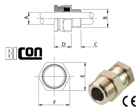 Bicon A2 40 Brass Cable Glands for Unarmoured Cables