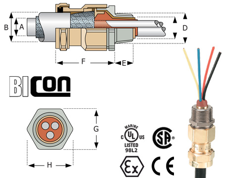 Bicon Barrier Connectors NPT for Jacketed Marine Shipboard Cables