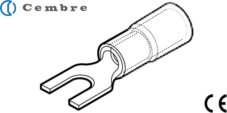 Cembre Cable Lugs, Insulated Fork Crimp Terminals for Copper Conductors