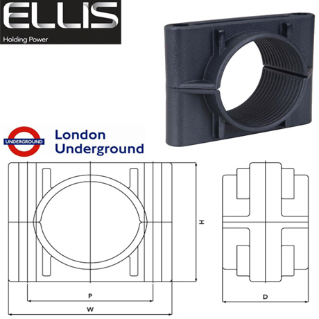 Two Hole Cable Clamps (Non Metallic), Ellis Patents Two Bolt Clamp 38mm-168mm